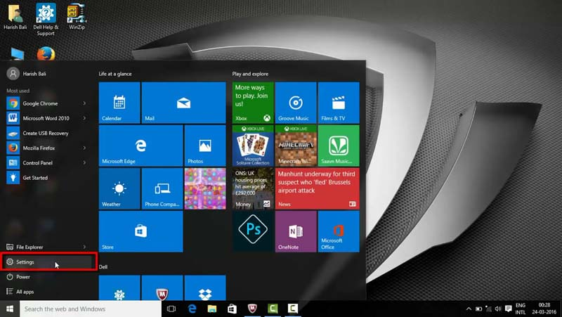 Go to Settings in Windows 10