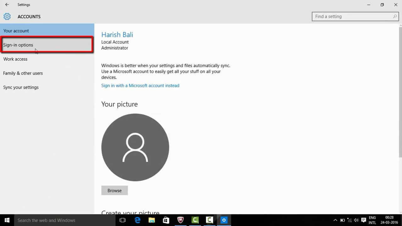 Go to Sign-in Options in Windows 10