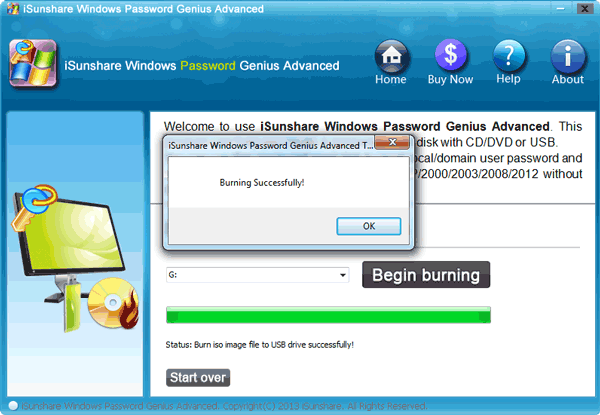 Burning Windows Password Reset Disk Successfully