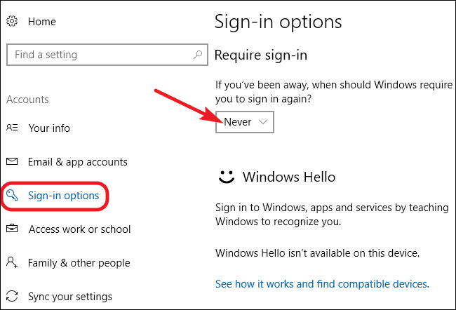 Windows 10 Sign in Options Never