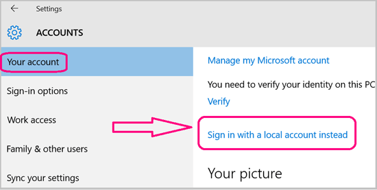 Windows 10 Sign in With a Local Account